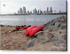 Kayaks On Coronado Island Overlooking The San Diego Skyline 5d24368 Acrylic Print by Wingsdomain Art and Photography