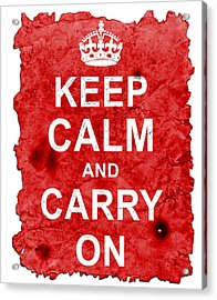 Keep Calm Poster Torn Acrylic Print by Nik Helbig