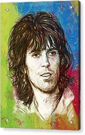 Keith Richards Stylised Pop Art Drawing Potrait Poster Acrylic Print by Kim Wang