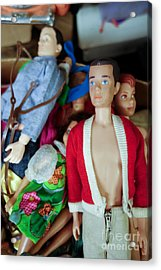 Ken Doll Amidst Other Vintage Barbie Dolls Acrylic Print by Amy Cicconi