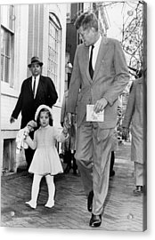 Kennedy And Daughter Caroline Acrylic Print by Underwood Archives
