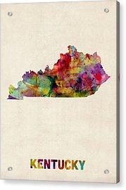 Kentucky Watercolor Map Acrylic Print by Michael Tompsett