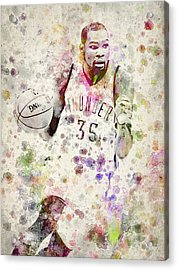 Kevin Durant In Color Acrylic Print by Aged Pixel