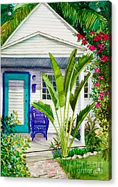 Key West Cottage Watercolor Acrylic Print by Michelle Wiarda