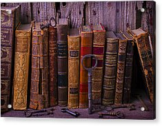 Keys And Books Acrylic Print by Garry Gay