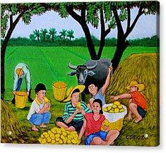 Kids Eating Mangoes Acrylic Print by Cyril Maza