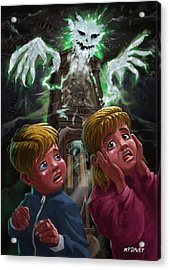 Kids With Haunted Grandfather Clock Ghost Acrylic Print by Martin Davey