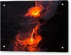 Kilauea Volcano Lava Flow Sea Entry - The Big Island Hawaii Acrylic Print by Brian Harig