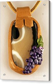 Kilnformed Glass And Polymer Clay Pendant Ss01111101 Acrylic Print by P Russell