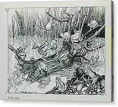 King Log, Illustration From Aesops Fables, Published By Heinemann, 1912 Engraving Acrylic Print by Arthur Rackham