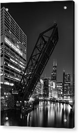 Kinzie Street Railroad Bridge At Night In Black And White Acrylic Print by Sebastian Musial