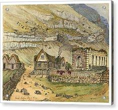 Kirk G Boe Inn And Ruins Faroe Island Circa 1862 Acrylic Print by Aged Pixel