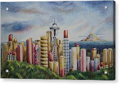 Kiss Of Seattle Acrylic Print by Mary Jo Jung
