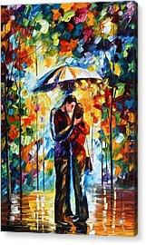 Kiss Under The Rain 2 Acrylic Print by Leonid Afremov