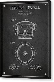 Kitchen Utensil Patent From 1917 - Dark Acrylic Print by Aged Pixel
