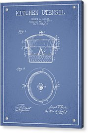Kitchen Utensil Patent From 1917 - Light Blue Acrylic Print by Aged Pixel
