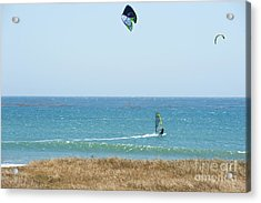 Kite Surfing And Wind Surfing Central Coast San Simeon California Acrylic Print by Artist and Photographer Laura Wrede