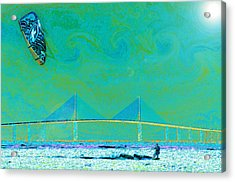 Kiteboarding The Bay Acrylic Print by David Lee Thompson