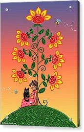 Kitty And Bumblebees Acrylic Print by Victoria De Almeida