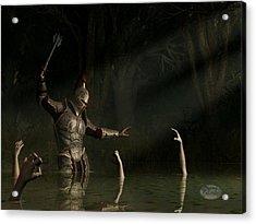 Knight In A Haunted Swamp Acrylic Print by Daniel Eskridge