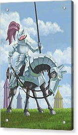 Knight In Shining Armour On Horesback Acrylic Print by Martin Davey