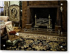 Knitting In Front Of A Vintage Fireplace Acrylic Print by Lynn Palmer