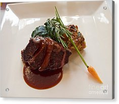 Kobe Beef With Spring Spinach And A Wild Mushroom Bread Pudding Acrylic Print by Louise Heusinkveld