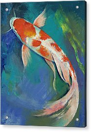 Kohaku Butterfly Koi Acrylic Print by Michael Creese