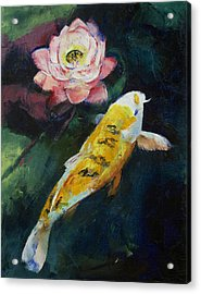 Koi And Lotus Flower Acrylic Print by Michael Creese
