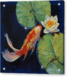 Koi And White Lily Acrylic Print by Michael Creese