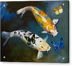 Koi Fish And Butterflies Acrylic Print by Michael Creese