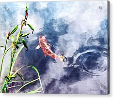 Koi In Swirling Water Acrylic Print by Susan Savad