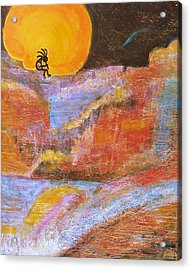 Kokopelli And The Big Moon Acrylic Print by Anne-Elizabeth Whiteway