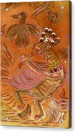 Kokopelli Dancing Up A Storm Acrylic Print by Anne-Elizabeth Whiteway