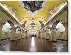 Komsomolskaya Station In Moscow Acrylic Print by Lars Ruecker
