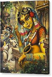 Krishna Is Here Acrylic Print by Vrindavan Das