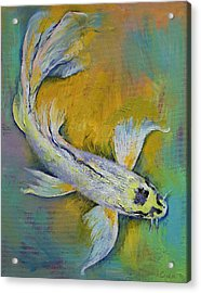 Kujaku Butterfly Koi Acrylic Print by Michael Creese