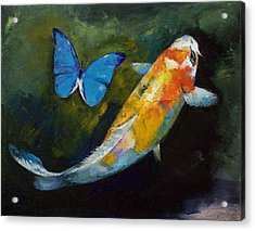 Kujaku Koi And Butterfly Acrylic Print by Michael Creese