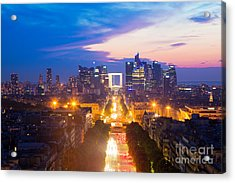 La Defense And Champs Elysees At Sunset In Paris France Acrylic Print by Michal Bednarek