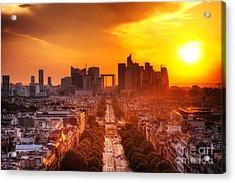La Defense And Champs Elysees At Sunset Acrylic Print by Michal Bednarek