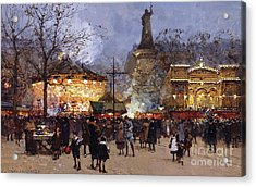 La Fete Place De La Republique Paris Acrylic Print by Eugene Galien-Laloue