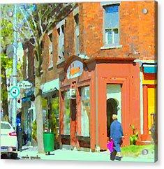 La Hacienda Resto Rue De L'epee Et Van Horne Outremont Montreal Spring City Scene Carole Spandau Acrylic Print by Carole Spandau