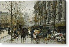 La Madelaine Paris Acrylic Print by Eugene Galien-Laloue