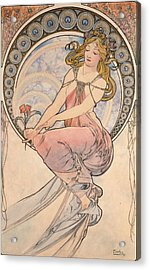 La Peinture, 1898 Watercolour On Card Acrylic Print by Alphonse Marie Mucha
