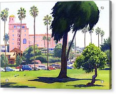 La Valencia Hotel And Cypress Acrylic Print by Mary Helmreich