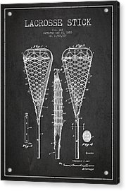 Lacrosse Stick Patent From 1950- Dark Acrylic Print by Aged Pixel