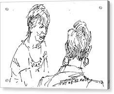Ladies Chatting Acrylic Print by Ylli Haruni