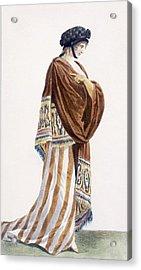 Ladies Dress With Velvet Shawl Acrylic Print by Pierre de La Mesangere