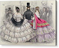 Ladies Wearing Crinolines At The Royal Italian Opera Acrylic Print by TH Guerin