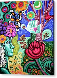 Lady And The Landscape Acrylic Print by Genevieve Esson